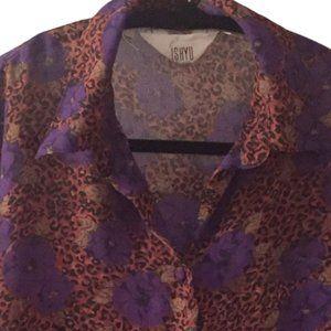 Leopard & Flower Print Blouse by ISHYU